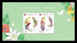 Singapore 2019 Mih. 2604/05 (Bl.250) Flora And Fauna. Flowers And Birds (joint Issue Singapore-Israel) MNH ** - Singapur (1959-...)