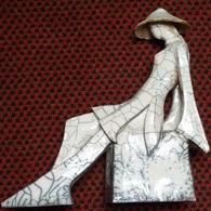 """STATUE RAKU PIECE UNIQUE """"CHINOISE ASSISE"""" TECHNIQUE JAPONAISE 32 Cm - Sculpturen"""