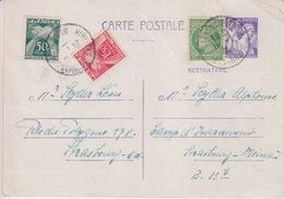 Entier Iris 1,20 Violet Obl. Strasbourg Le 19/1/46 (tarif Du 1/1/46 + Complément 80c Mazelin Pour Lure + Taxe 50c + 1F50 - Marcophilie (Lettres)