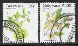 Botswana Scott # 651-2 Used Cristmas, Flowers, 1997 - Botswana (1966-...)