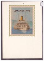 CARTE MODERNE - LAUSANNE - EXPOSITION LEMANEX 1978 - BATEAU SUR VERITABLE SOIE - TB - VD Vaud