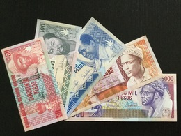 GUINEA-BISSAU SET 50 100 500 1000 5000 PESOS BANKNOTES 1990-1993 UNC - Guinee-Bissau