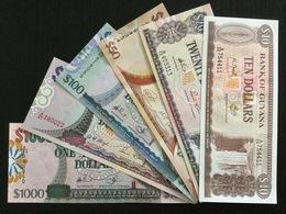 GUYANA SET 10 20 50 100 500 1000 DOLLARS BANKNOTES UNC - Guyana