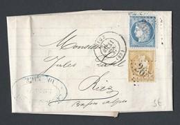 N° Y/T Cérès 60 A Et 59 Sur Lettre Caisse De Crédit De Nice TAD 11/03/1873 GC 2656 Vers Riez - Marcophilie (Lettres)