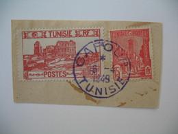 Tunisie Oblitération Bleue  Choisies De Gafour   Sur Fragment   Voir Scan - Tunesien (1888-1955)