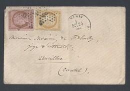N° Y/T Cérès 58 Et 59 Sur Enveloppe De Paris Vers Aurillac 25/12/1873 - Poststempel (Briefe)