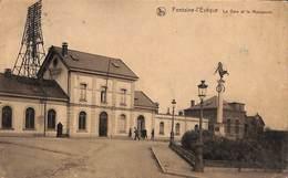 Fontaine-l'Evêque - La Gare Et Le Monument (animée, 1925) - Fontaine-l'Evêque
