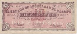 BILLETE DE MEXICO DE 10 PESOS DEL AÑO 1915 ESTADO DE MICHOACAN DE OCAMPO  (BANKNOTE)  RARO - México
