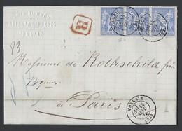 N° Y/T 78 X 3 En Bande Sage Sur Lettre Recommandé De Morlaix TAD 14/09/1876  Vers Paris - Poststempel (Briefe)