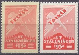 SWEDEN:1930: 2 Vignettes/Cinderellas – With Glue: §@§ TRANAS: Utstallningen 14 Juni-15 Juli 1930 §@§:  FLYING GOOSES, - Erinnofilia