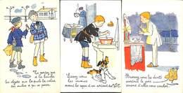 Bureau De La Tuberculose - Croix Rouge Américaine - Lot 3 Cartes Enfants Animée Colorisée - Illustrateurs & Photographes