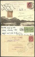 SEA MAIL: 4 Postcards Of Las Palmas, Angola, Port Said And Bahia (Brazil) Sent Between 1904 And 1920 From Ships At Sea,  - Stamps