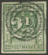 GERMANY: Sc.12, 1864 2½s. Green, Used, Very Fine Quality! - Hamburg