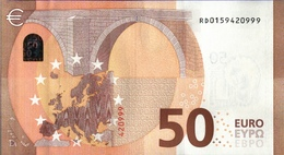 ! 50 Euro Currency RD0159420999, Money, Geldschein, Banknote , R029E3, Mario Draghi, EZB, ECB, Europäische Zentralbank - 50 Euro