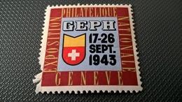 ERINNOFILI VIGNETTE CINDERELLA - GENEVE GINEVRA 1943 ESPOSIZIONE FILATELICA - Erinnofilia