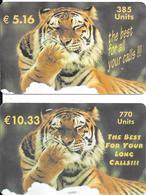 2 CARTES-PREPAYEE-ITALIE-WORLDCOM-5.16€-10,33€-THEME ANIMAUX-TIGRE--TBE-RARE - Jungle
