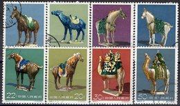 Pferde 1961 China 608/5 O 30€ Pferd-Skulpturen Keramik Tang-Dynastie History Ceramic Art Horse Set Of Chine CINA - 1949 - ... People's Republic