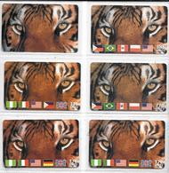 6 CARTES-PREPAYEE-ITALIE-WORLDCOM-5.16€-10,33€-THEME ANIMAUX-TIGRE--TBE-RARE - Jungle