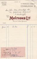 1944-1950 COMMERCIAL DOCUMENT- MELROSES LTD - BLEUP INVOICE - Royaume-Uni