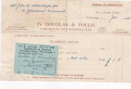 1950 COMMERCIAL DOCUMENT- DOUGLAS & FOULIS. LIBRARIANS AND BOOKSELLERS, EDINBURGH - BLEUP - Royaume-Uni