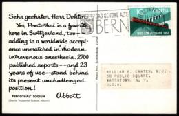 Dear Doctor Re Sodium Pentothal (Abbott) Switzerland To USA 1957 - Publicité