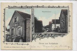 67 KOLBSHEIM . Bonjour En 2 Clichés ,  Auberge Des Arbres Verts Wve Fix  , édit : Viktor's , écrite En 1914 , état Extra - Autres Communes