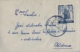 1954 , INDIA PORTUGUESA , SOBRE CIRCULADO , GOA - ALDONA - Inde Portugaise