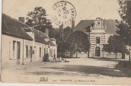 Chalette  45   La Mairie Et La Place Bien Animée-La Poste Et Café-Restaurant - France