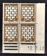 FRANCE 1943 - BLOC DE 4 TP Y.T. N°573 - NEUFS** COIN DE FEUILLE / DATE - Coins Datés