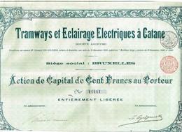 Action Ancienne - Société Anonyme -Tramways Et Eclairages Electriques à Catane - Titre De 1904 - N°14441 - Chemin De Fer & Tramway