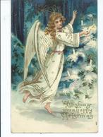 Christmas Postcard Angel Wishing You A Happy Christmas Embossed Unused G And R - Navidad