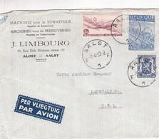 1950 COMMERCIAL COVER- MACHINES POUR LA BONNETERIE J.LIMBOURG. CIRCULEE AALST TO LANSDALE, USA, PAR AVION  - BLEUP - Lettres & Documents