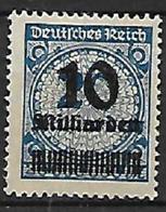 GERMANIA REICH REP.DI WEIMAR 1923 SERIE DEI MILIONI SOPRASTAMPATI CON NUOVO VALORE UNIF. 314 MLH VF - Germania