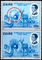 CRANES- RHINOCEROS-CHIMPANZEE-WILDLIFE- ERROR-150th ANNIVERSARY OF BELGIUM-PAIR-ZAIRE-1980-B9-906 - Grues Et Gruiformes