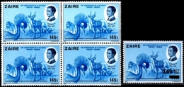 CRANES-WILD LIFE-OTHERS-UPRATED-DOWNRATED-BLOCKS OF 4 WITH OVPT-150th ANNIVERSARY OF BELGIUM-FULL SET-ZAIRE-1980-B9-906 - Grues Et Gruiformes