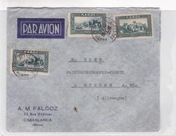 1956 COVER MAROC MOROCCO COMMERCIAL- A.M. FALCOZ. CIRCULEE CASABLANCA TO SPEYER, GERMANY - BLEUP - Maroc (1956-...)