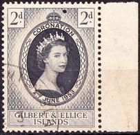 GILBERT & ELLICE ISLANDS 1953 QEII 2d Black & Grey-Black Çoronation SG63 FU - Gilbert & Ellice Islands (...-1979)