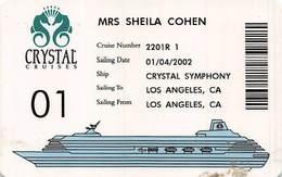 Crystal Cruises - Cruise Ship Card - Cartes D'hotel
