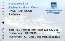 Norwegian Cruises - Cruise Ship Card - Cartes D'hotel