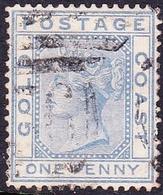 GOLD COAST 1876 QV 1d Blue SG5 Used - Gold Coast (...-1957)