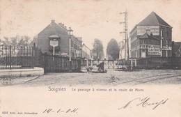 619 Soignies  Le Passage A Niveau Et La Route De Mons - Soignies