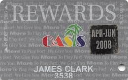 Oasis Casino Mesquite, NV - Slot Card With Apr-Jun 2008 Sticker - Casino Cards