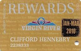 Virgin River Casino Mesquite NV - Slot Card - Gold Rewards With Jan-Mar 2010 Sticker - Casino Cards