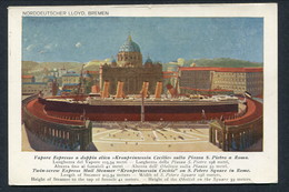 """C1908 N.D.L """"KRONPRINSESSIN CECILIE"""" PLACED ACROSS S PIETRO ROME -- COLOURED ADVERT PC FOR ITALY - Steamers"""