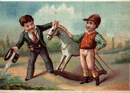 CHROMO KRISTAAL PORCELEIN GLAS EN AARDEWERK ANTWERPEN  LE JOCKEY ET SON CHEVAL ! DE BOIS - Trade Cards