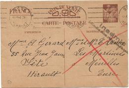 ENTIER IRIS 90C INTERZONE CP MEC SETE 10.X.1941 POUR EURE + INADMIS - Ganzsachen