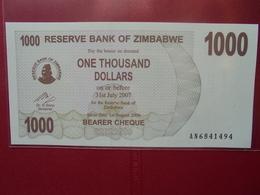 ZIMBABWE 1000 $ 2007 (BEARER CHEQUE) PEU CIRCULER/NEUF - Zimbabwe