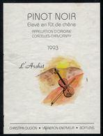 Etiquette De Vin // Pinot-Noir De Chavornay 1993, L'archet Et Le Violon - Violen