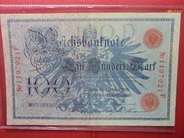 Reichsbanknote :100 MARK 1908 (CACHET ROUGE) - [ 2] 1871-1918 : German Empire
