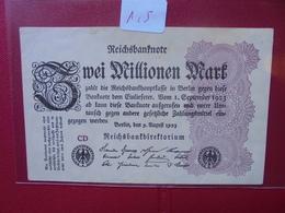 Reichsbanknote 2 MILLIONEN MARK 1923 - [ 3] 1918-1933 : Repubblica  Di Weimar